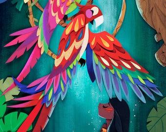 Macaw Island Print