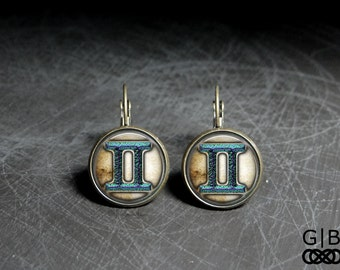 Gemini Astrology Earrings Gemini Dangles - Gemini Gift Earrings Gemini Present Earrings - Gemini Birthday Earrings Gemini Keepsake Jewelry