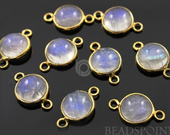 Natural Rainbow Moonstone  Round Connector, Gold Vermeil , Incredible Blue Fire,10mm,1 Piece, (RNM001-SM)