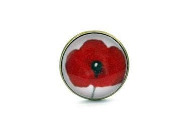 """Red poppy 3"" Bohemian ring adjustable vintage retro brass cabochon"