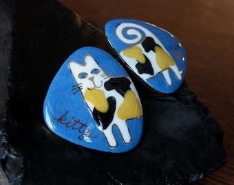 Artsy Vintage Enamel Cat Earrings. Fun, Funny Cat Earrings. Blue Black White Yellow. Split Design,Smiling Calico,Cat Lovers Gift,Cat Jewelry