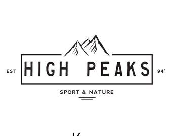 Mountain Logo Design. Mountains Badge Logo. Mountain Peak Logo. Brand Mountain Logo. Watermark Nature Logo. Adventure Sport Logo.