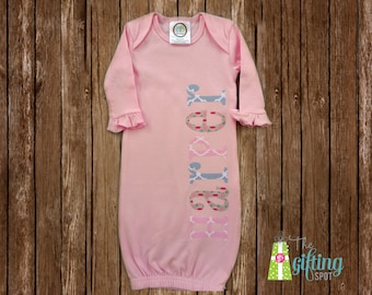Monogrammed Baby Girl Gown, Personalized Baby Gown, Baby Gift, Baby Name Gown, Baby Shower Gift, Baby Gown with Appliqué Name