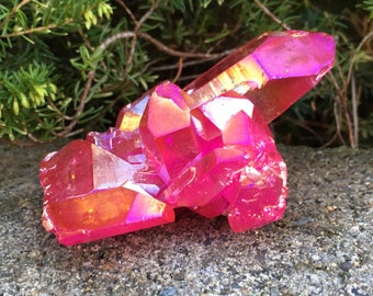 Stunning Pink Flame Aura Quartz Cluster