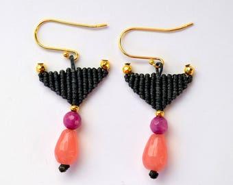 Triangle earrings - Bohemian earrings  - Gray earrings - Geometric earrings - Minimalist earrings - Crystal earrings - Dangle earrings gift
