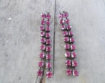 Pink Rhinestone Silvertone Dangle Earrings Earrings