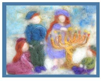 Printed Note Card -Lighting the Menorah -image from wool painting -  Waldorf Inspired Chanukah Greeting card