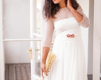 Tulle wedding dress high neck, Tulle sleeve wedding dress with high neck, Ivory wedding dress with sleeves, Wedding dresses tulle dotted