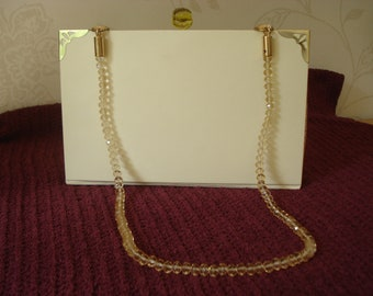 Cream Shoulder Bag Made From A Recycled Book With Paisley Lining and Crystal Bead Chain