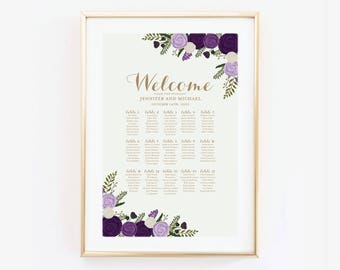 Wedding Seating Chart Seating Plan Table Chart Seating Chart Sign Large Seating Chart Wedding Sign Canvas or Large Art Print #CL252