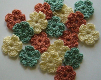 Crocheted Flowers - Cream, Coral and Aqua - Wool Flower Appliques - Wool Flower Embellishments - Set of 6