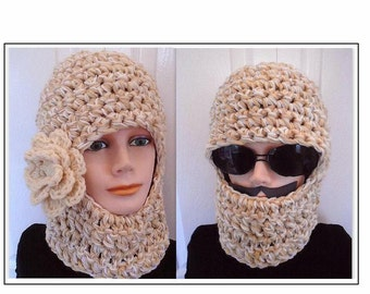 Crochet Pattern - HAT Pattern - Unisex ski mask,  #597CROB - BALACLAVA,  Ski Hat 3 sizes Age 5 to Adult - Chunky Style....