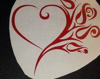 Heart with roses decal