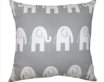 Elephant STUFFED Throw Pillow, Ele Storm Gray Decorative Pillow, Elephant Nursery Pillow, Gray Nursery Accent Pillow - Free Ship