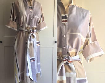 Vintage 80s Catherine Ogust Color Block Dress, 70s 80s Vintage Cotton Dress White, Gray, Yellow, Taupe and Rust Brown Color Block Dress