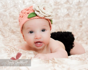"RTS in 5-Preteen Beanie Hat Crocheted ""The Miranda""  Tearose Ecru Sage Cute Soft Peach Tones"