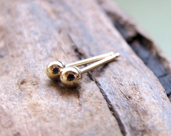 Tiny Gold Stud Earrings - 3mm Ball Studs - 14k Gold Filled Dot Post  Earrings - Minimalist Jewelry - Gold Studs / Simple Everyday Studs