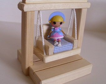 Wooden Toy Small Swing, Doll Swing Set, Dollhouse Accessory, Handmade Wood Waldorf toy, Kids Birthday gift, Jacobs Wooden Toys
