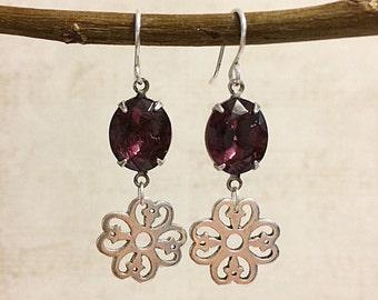Purple Dangle Earrings, Purple Drop Earrings, Purple Chandelier Earrings, Purple Earrings, Dark Purple Earrings, Wedding Earrings