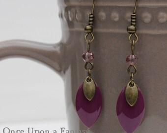 Enamel earrings purple navettes - Once Upon a Fantasy