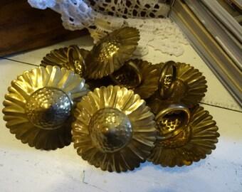 Vintage set Unique ,Ornate Copper Napkin/Curtain Flower Rings.