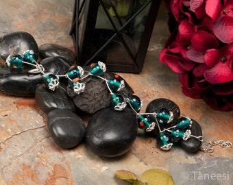 Teal glass bracelet, Teal Green Glass ball  Silvertone ,Bohemian Bracelet, Handmade bracelet,adjustable,unisex bracelet, gypsy bracelet