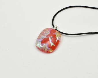Dichroic Fused Glass Pendant, Red and Gold, Number 6