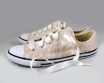 Size 8 Blush Lace Bridal Converses Ready to ship -- Wedding Tennis shoes with Blush Lace - Wedding Converse