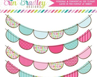 80% OFF SALE Pink and Blue Flowers Bunting Clipart Commercial Use Digital Clip Art Graphics