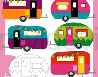 RV clipart / Camper clip art / Camping caravan retro graphic / RV Camper bright colors / commercial use, digital images, instant download