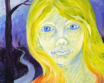 Portrait painting, Samantha's Dream, original acrylic painting on canvas, dream art, surreal art, fantasy
