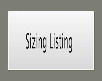 Sizing Listing