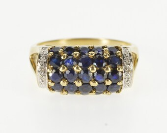 14K 1.51 Ctw Sapphire Encrusted Diamond Accent Band Ring Size 7 Yellow Gold