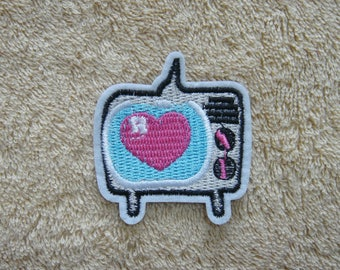 TV Iron On Patch Heart Embroidered Applique Patches For Jackets