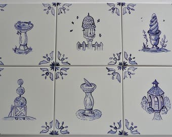French Country Delft handpainted ceramic tiles 6 x 6 in Blue on Off-White
