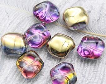 Lot 2 Czech glass beads irregular yellow AB multicolor 19x17mm - creating jewelry.