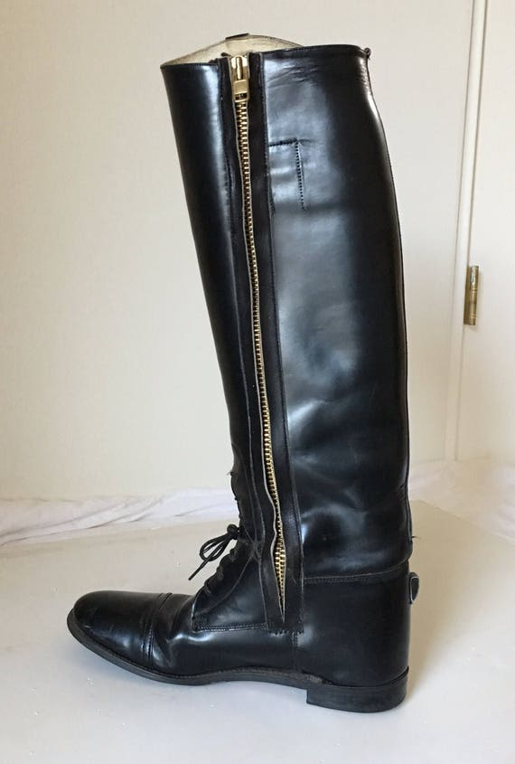 42 English equestrian riding moto 5 knee 8 up Lace zipper riding black boot boots steampunk tall 9 boot 1930s Vintage women 5 men hunting 7gfvwgxq