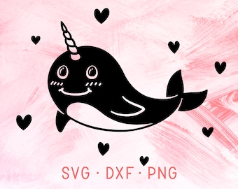 Narwhal SVG DXF PNG, Ocean Birthday Theme, Unicorn Of The Sea, Cute Nautical Animal, Heart Narwhal Clipart, Sea Life Svg Files For Cricut