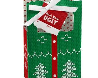 Ugly Sweater - Favor Boxes - Holiday Party Supplies - Ugly Sweater Christmas Party Favor Boxes - Tacky Sweater Party Favors - Set of 12
