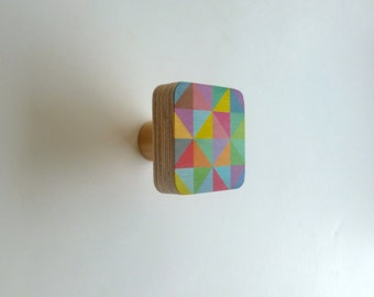 Objectify Grid Wooden Wall Hook - set of 5