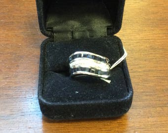 14K White Gold Channel Set Sapphire and Diamond Ring