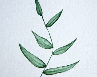 Original 4 x 4 inch watercolor painting of a plant by Meredith O'Neal