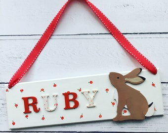 Hare Personalised Name Sign with Roses Detail, customised name sign, name plaque