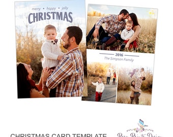 Christmas Card Photoshop Template - 5x7 Photo Card - INSTANT DOWNLOAD or Printable - CC42