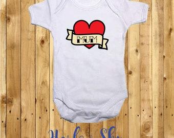 100% White Cotton Baby Vest/Grow With Retro Tattoo Print *Baby Shower*Gift*Newborn*