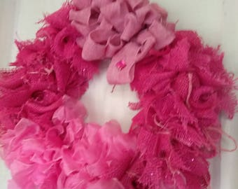 Wreath One Of A kind Rose Pink Organza Burlap. Rag Style. Stones