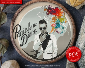 Panic! at the Disco Cross Stitch Pattern for Instant Download *P049 | Easy Cross Stitch| Counted Cross Stitch| Embroidery Design