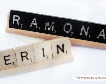 Personalized Desk Sign - Scrabble Tiles on Woodgrain Base - Co-Worker Gift, Stocking Stuffer