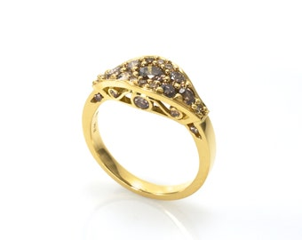 Filigree  ring, Diamond ring, Classical diamond ring, 18ct yellow gold ring, yellow gold diamond ring, champagne diamond ring, 1ct