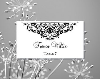 Place Card Printable Template Grace Black Editable Worddoc Tent Avery 5302